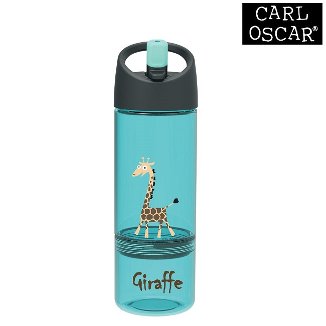 Vattenflaska barn Carl Oscar 2-in-1 med snacksburk 300 ml Blue Giraffe