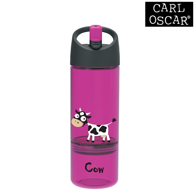 Vattenflaska barn Carl Oscar 2-in-1 med snacksburk 300 ml Purple Cow