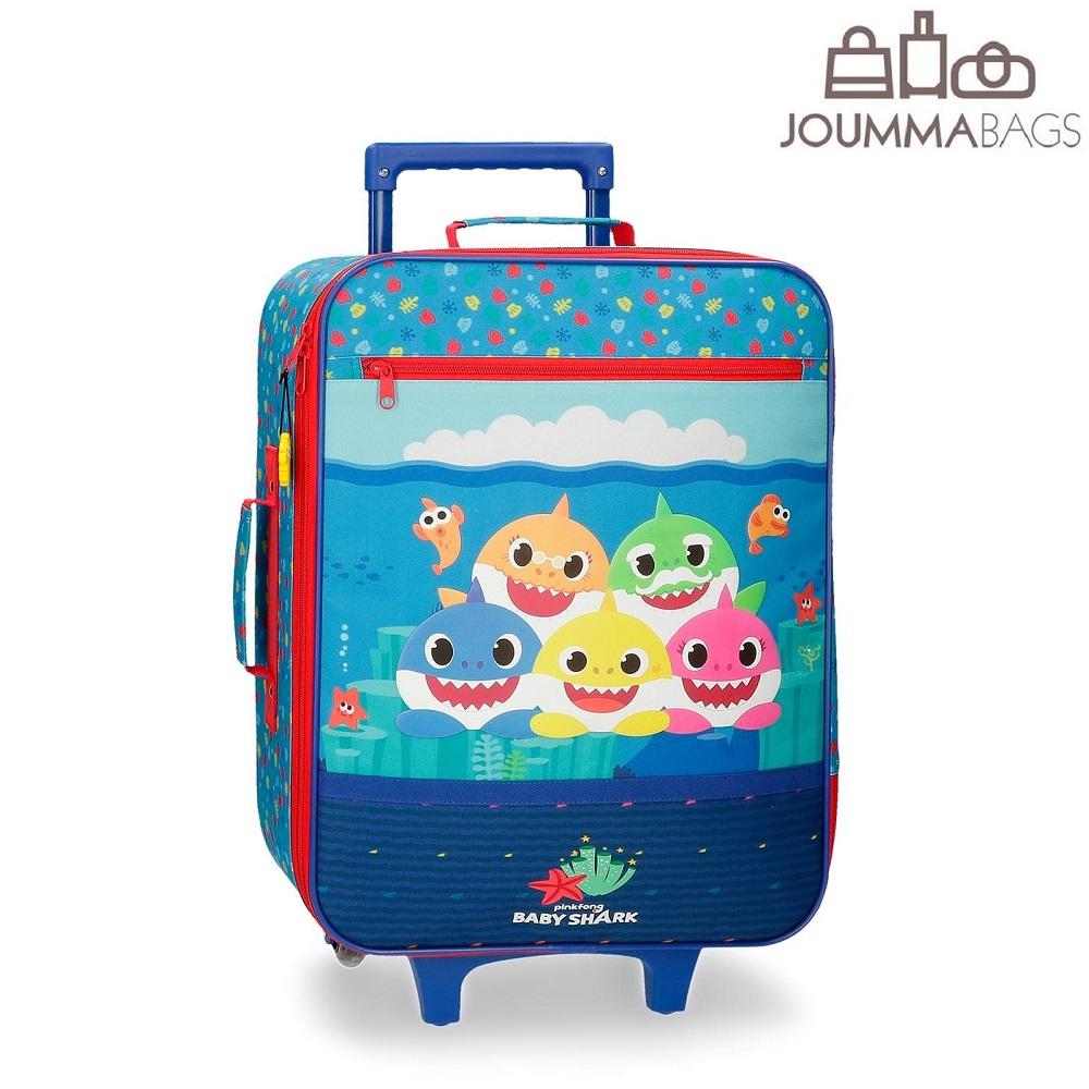 Lasten matkalaukku pehmea 50 cm Baby Shark sininen