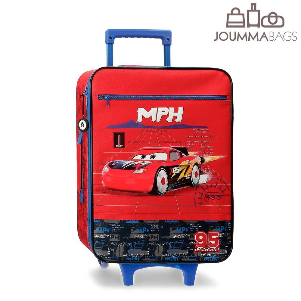 Lasten matkalaukku pehmea 50 cm Autot 3 sininen ja punainen
