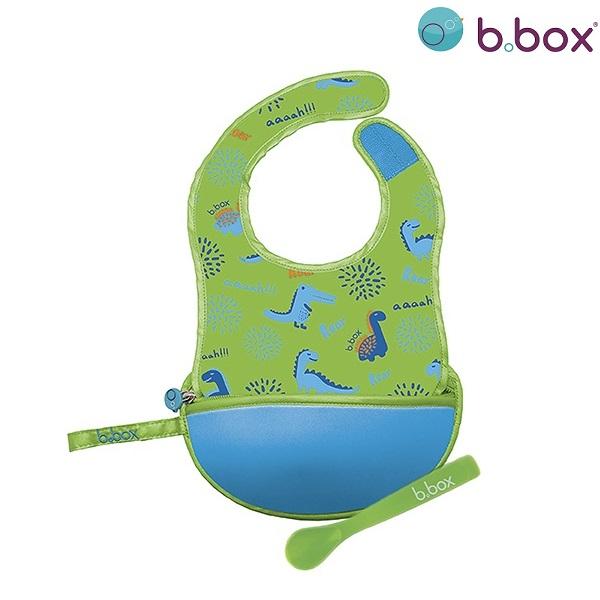 Ruokalappu lusikalla taitettava B.box vihrea Dino