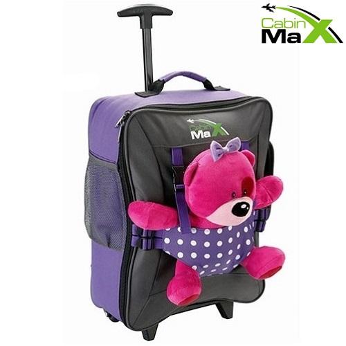 Lasten lentolaukku ja reppu Cabin Max Bear lilaa