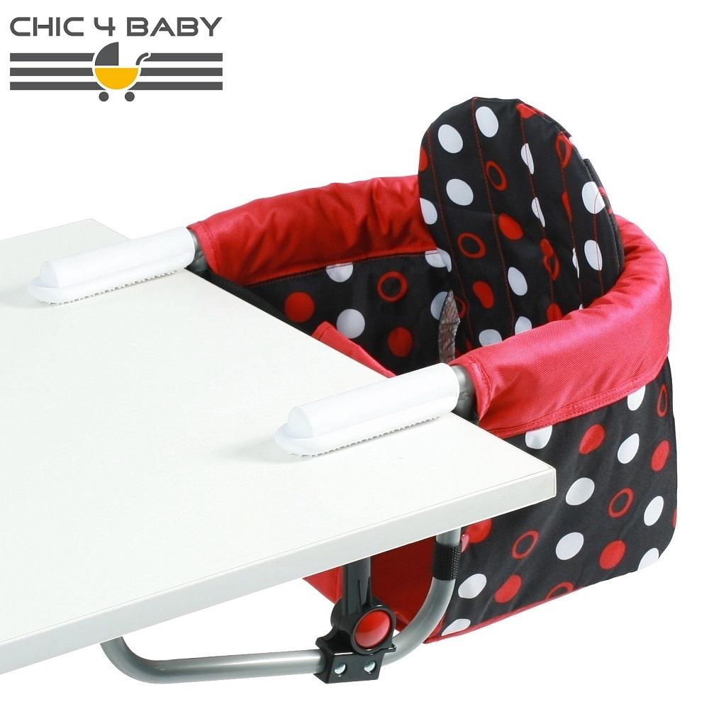 Resebarnstol till bord Chic4Baby Pink Dots