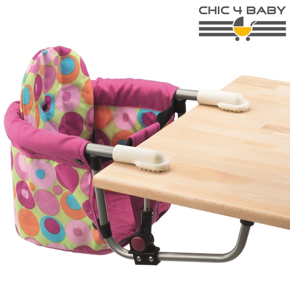 Resebarnstol till bord Chic4Baby Pink Circles