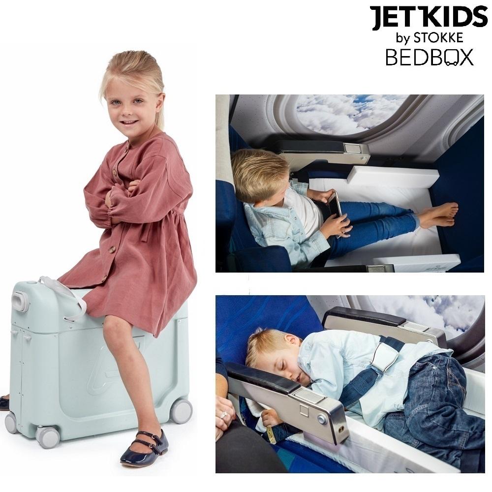 Jetkids Bedbox matkalaukku ja lapsen sanky lentokoneessa vihrea vihrea