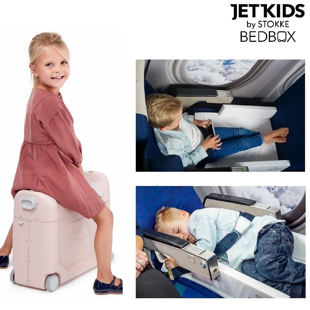 Jetkids Bedbox matkalaukku ja lapsen sanky lentokoneessa vaaleanpunainen