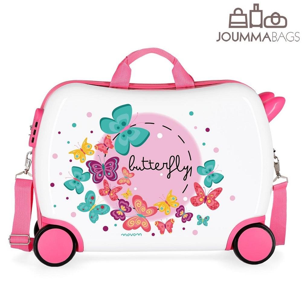 Lasten vetolaukku 4 pyoraa vaaleanpunainen valkoinen perhoset