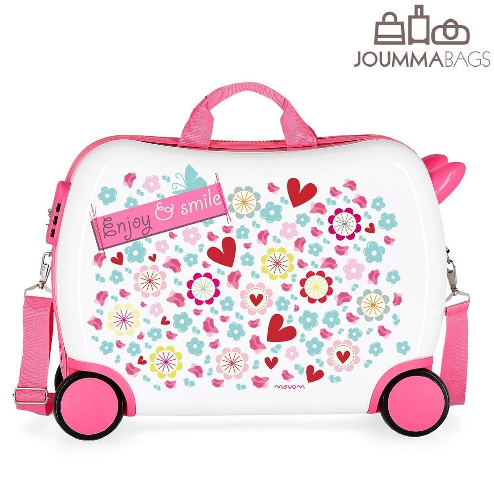 Lasten vetolaukku 4 pyoraa vaaleanpunainen valkoinen sydan