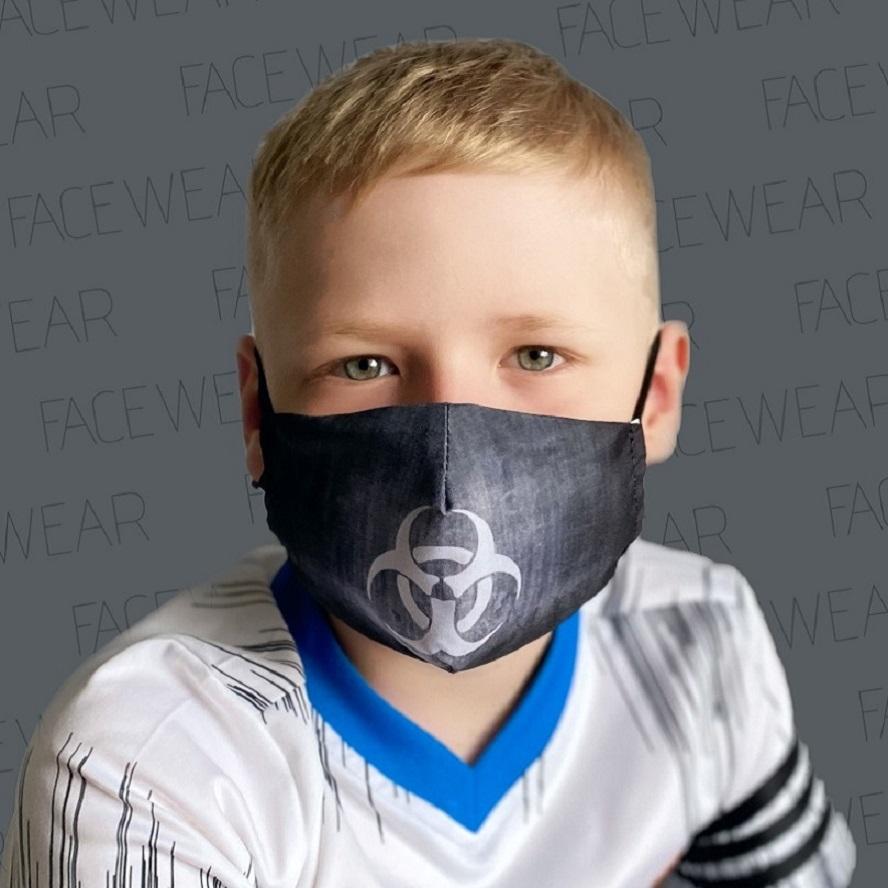Lasten kasvomaski Facewear uudelleenkaytettava musta Biohazard