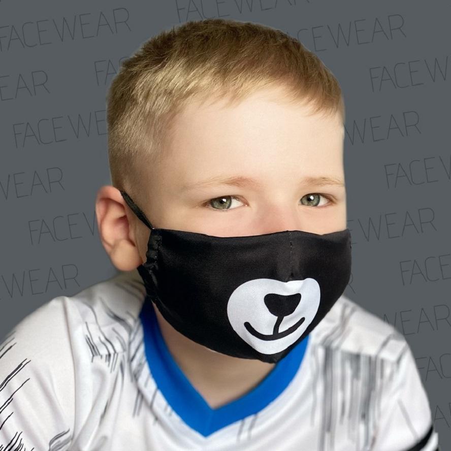 Lasten kasvomaski Facewear uudelleenkaytettava musta Bear