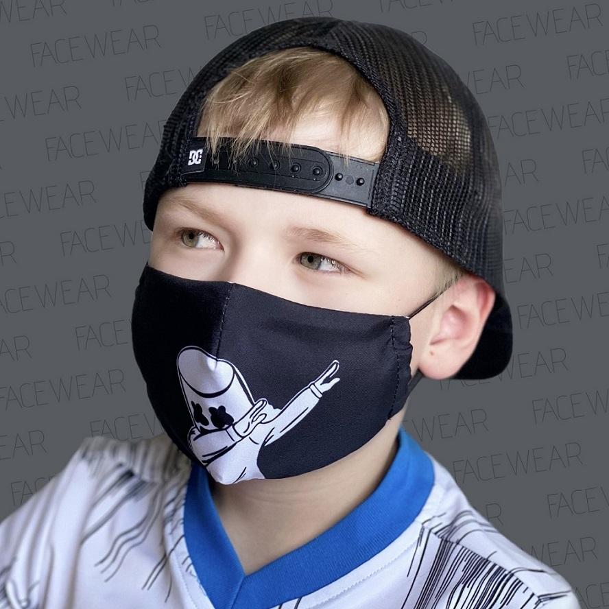 Lasten kasvomaski Facewear uudelleenkaytettava musta Dab