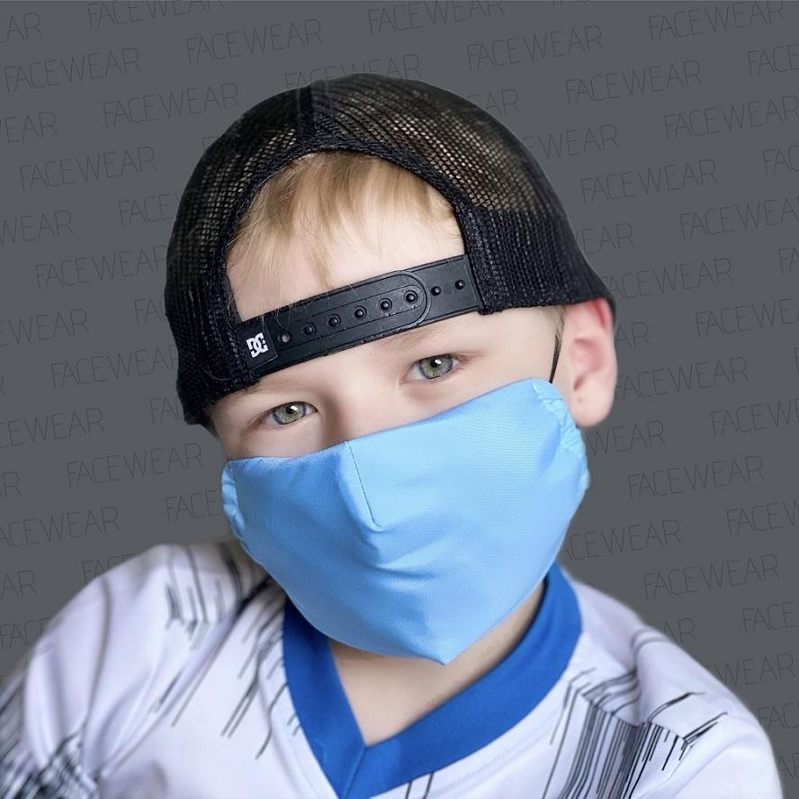 Lasten kasvomaski Facewear uudelleenkaytettava vaaleansininen