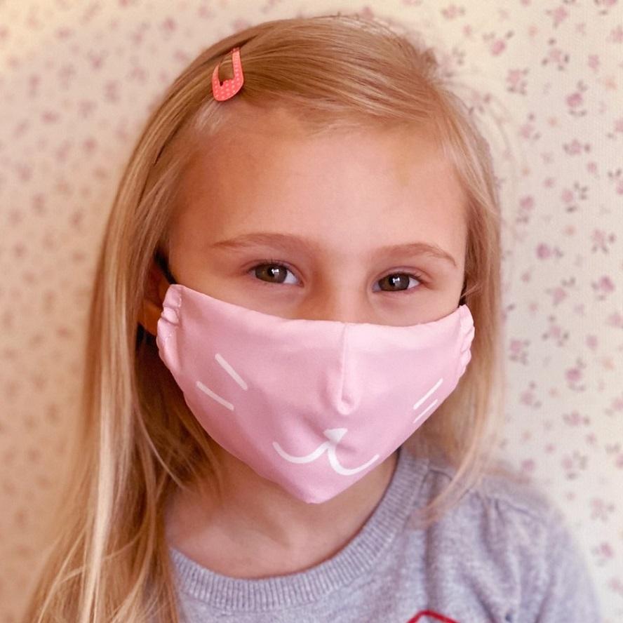 Lasten kasvomaski Facewear uudelleenkaytettava vaaleanpunainen Pink Cat
