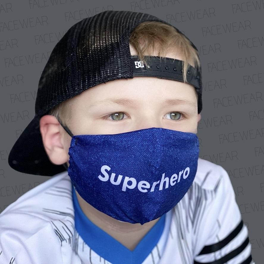 Lasten kasvomaski Facewear uudelleenkaytettava sininen Superhero