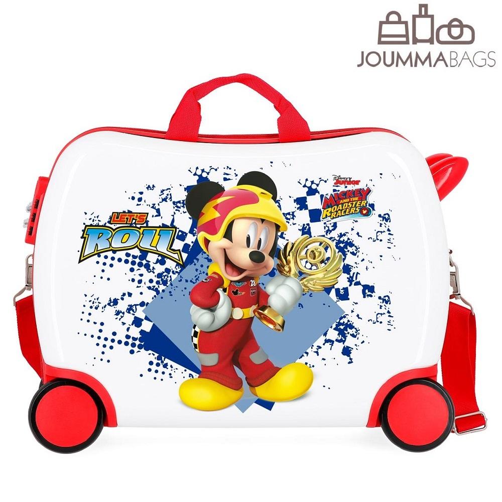 Lasten paallaistuttava matkalaukku Mikkihiiri valkoinen ja punainen