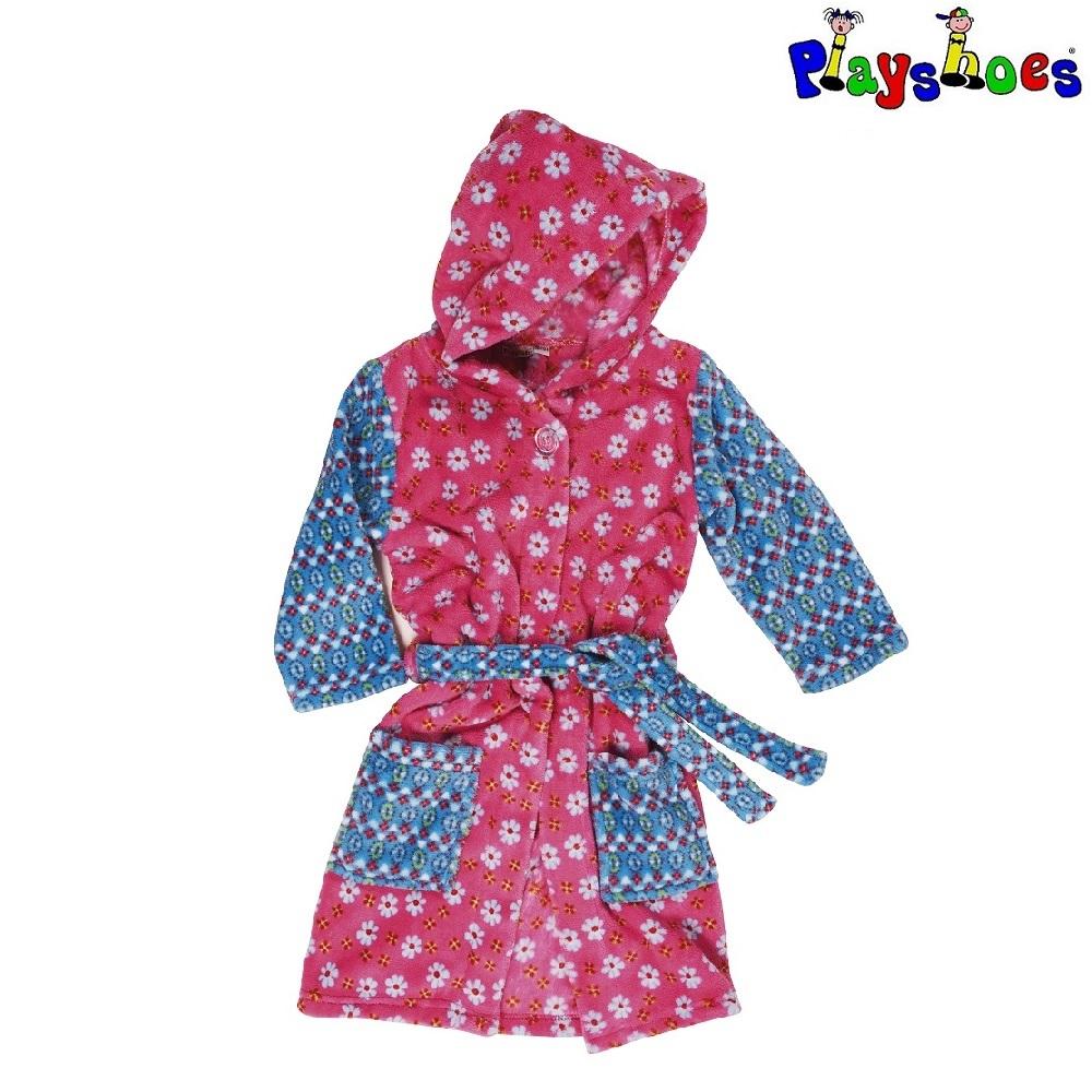 Lasten kylpytakki Playshoes vaaleanpunainen kukat