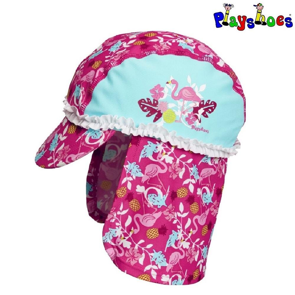 Lasten Uv aurinkohattu Playshoes Flamingo sininen ja vaaleanpunainen