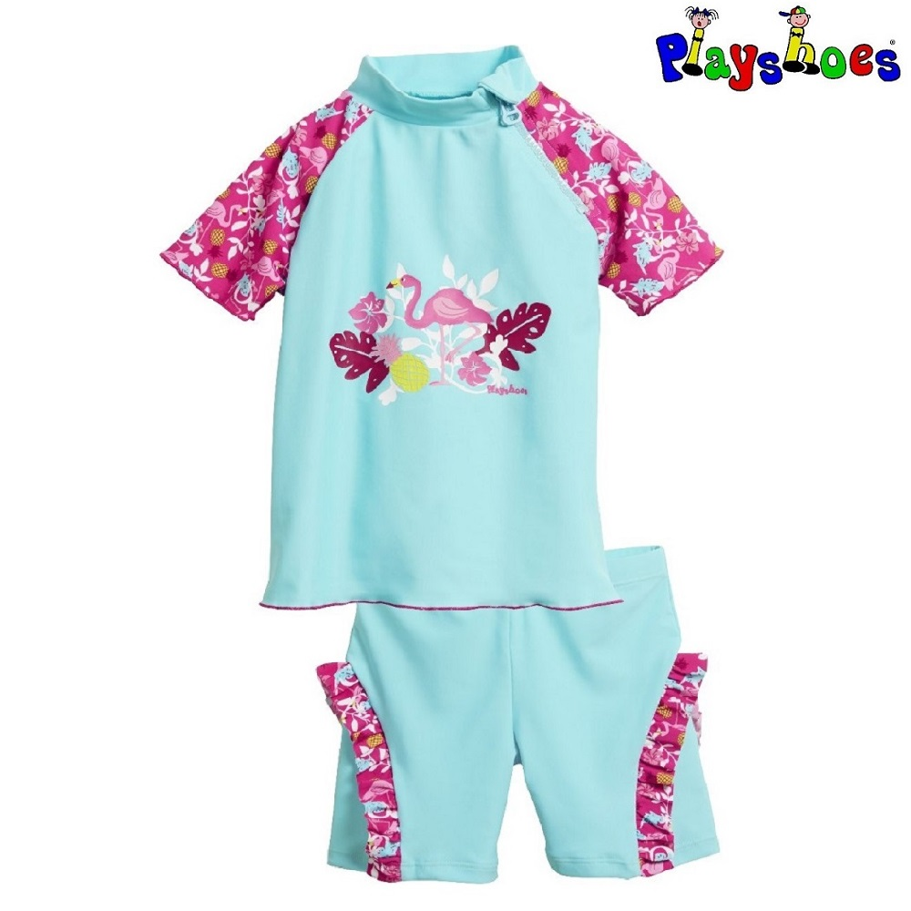 Lasten Uv uimapaita ja uimahousut Playshoes Flamingo vaaleansininen