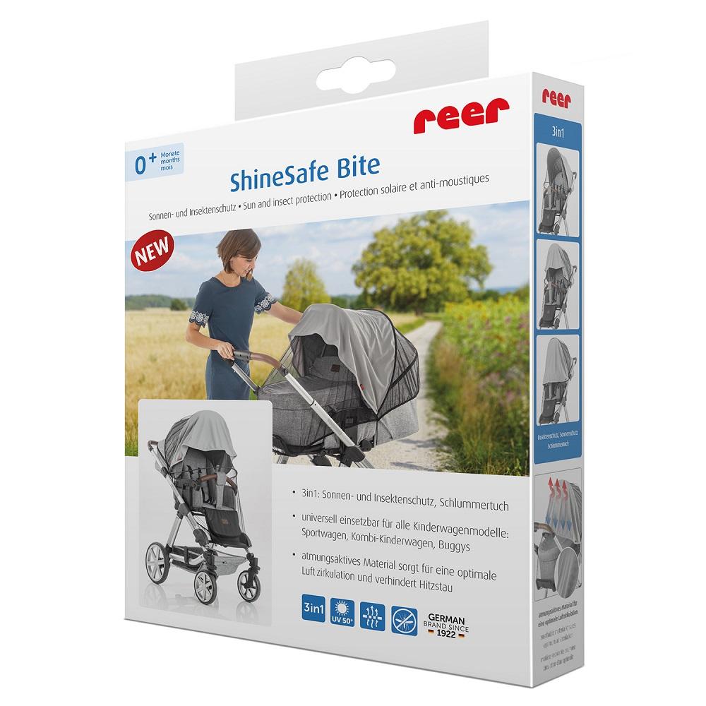 Aurinkosuoja ja hyttysverkkoa vaunuun ja rattaisiin Reer Shinesafe Bite harmaa