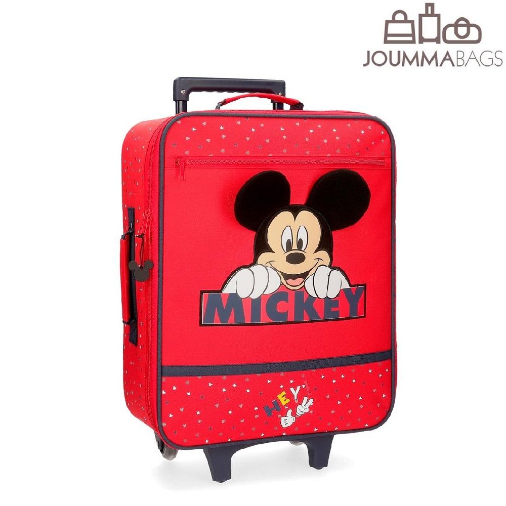 Lasten matkalaukku Mikkihiiri punainen pehmeakantinen