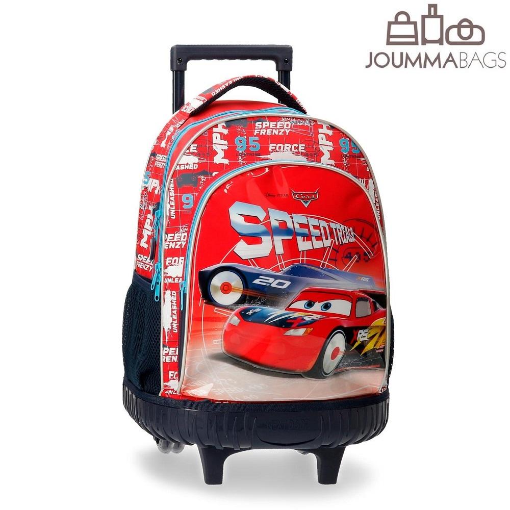 Lasten matkalaukku trolley reppu Autot 3 punainen