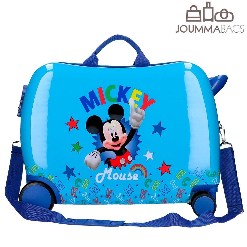 Lasten matkalaukku potkuauto Mikkihiiri ABS paallaistuttava sininen