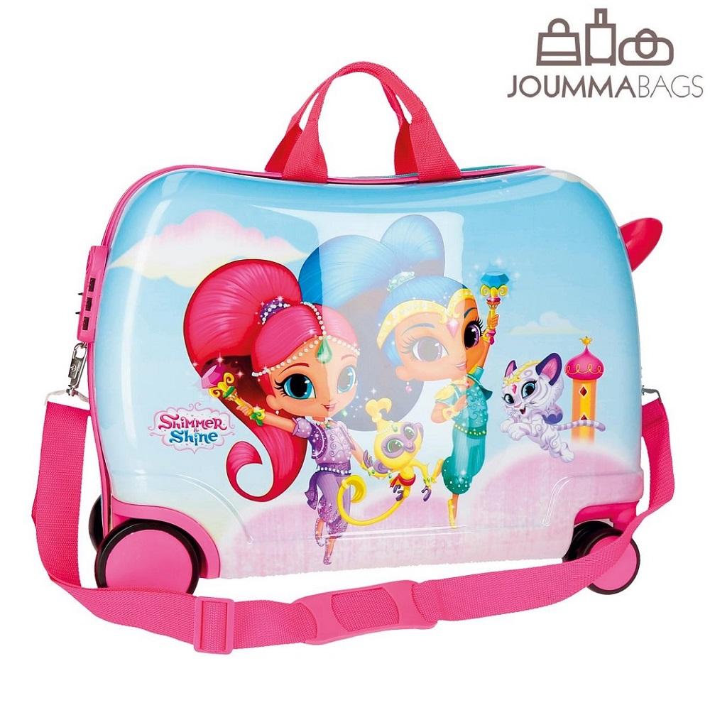 Lasten ABS matkalaukku paallaistuttava Shimmer & Shine vaaleanpunainen