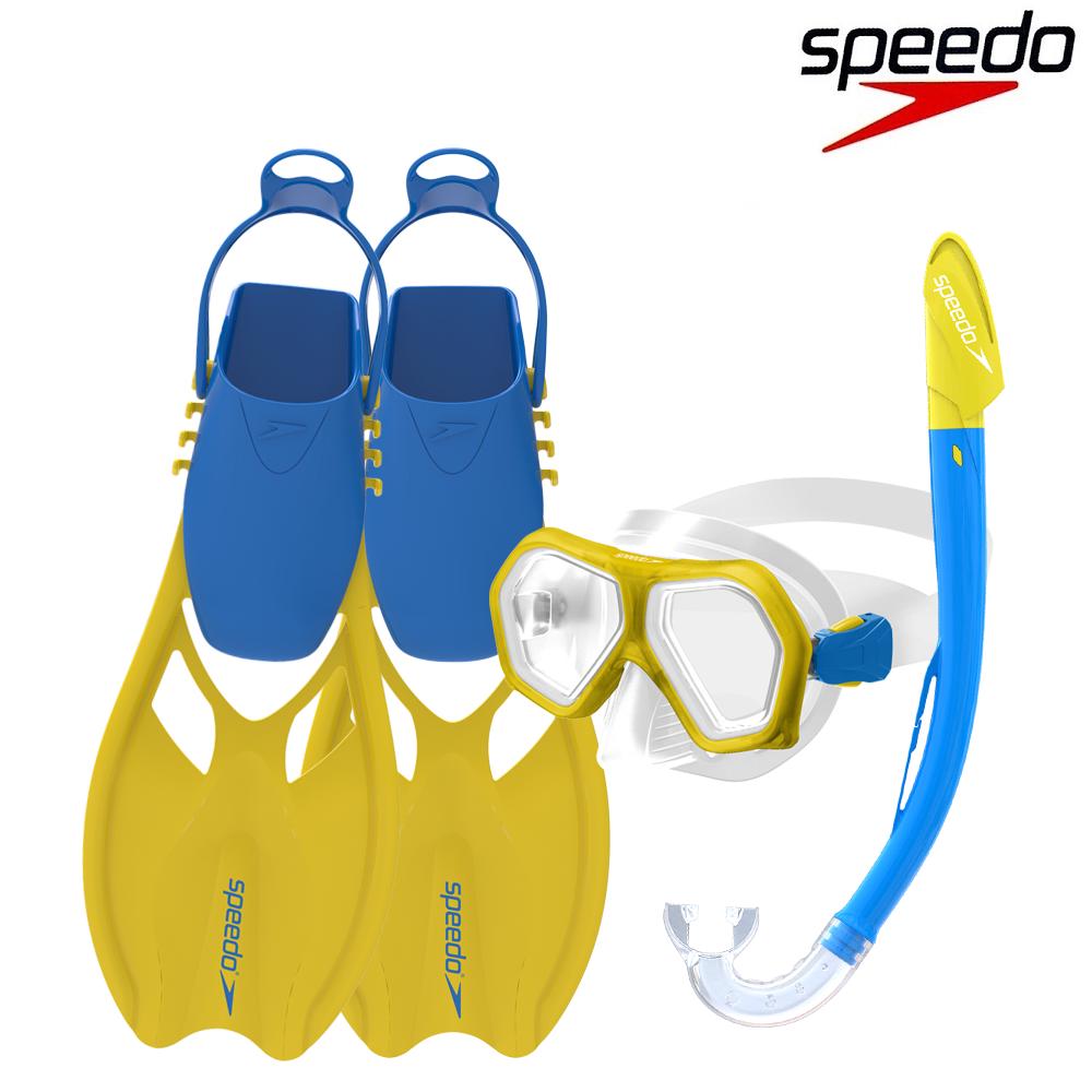 Lasten snorkkeli-maski-ja rapylat Speedo Junior Scuba set sininenmaski ja
