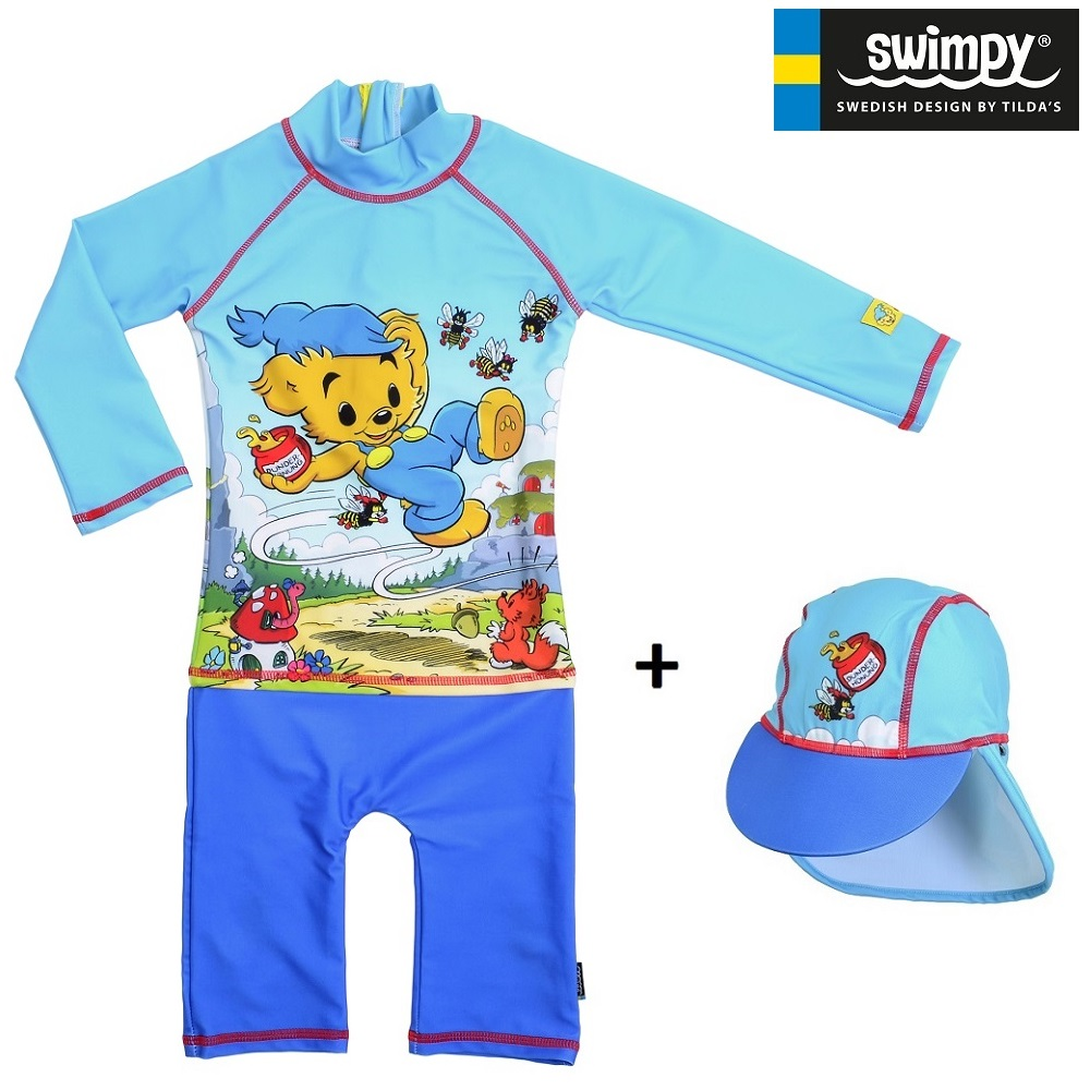 Lasten Uv-uimapuku ja hattu Swimpy Bamse sininen