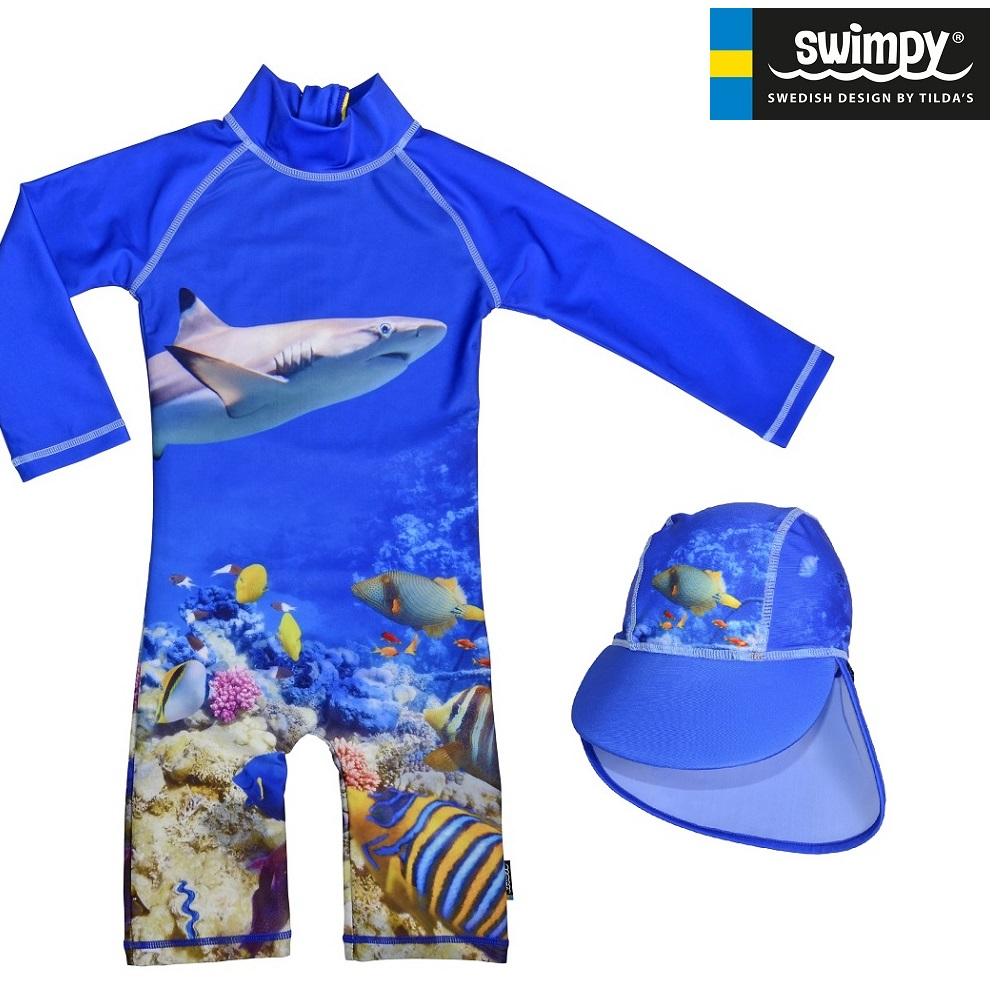 UV kläder barn Swimpy Coral Reef Set med uv-dräkt och uv-hatt